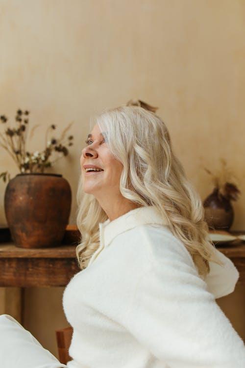 Smiling Elderly Woman Looking Upwards