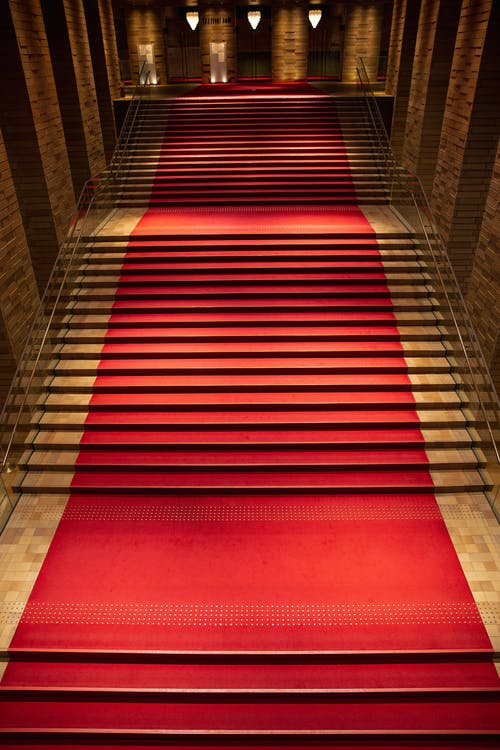 From above of majestic rich interior of old building hall with red carpet on staircase