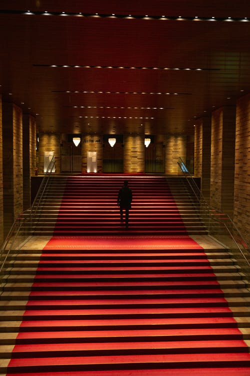 Dark figure in building with red carpet