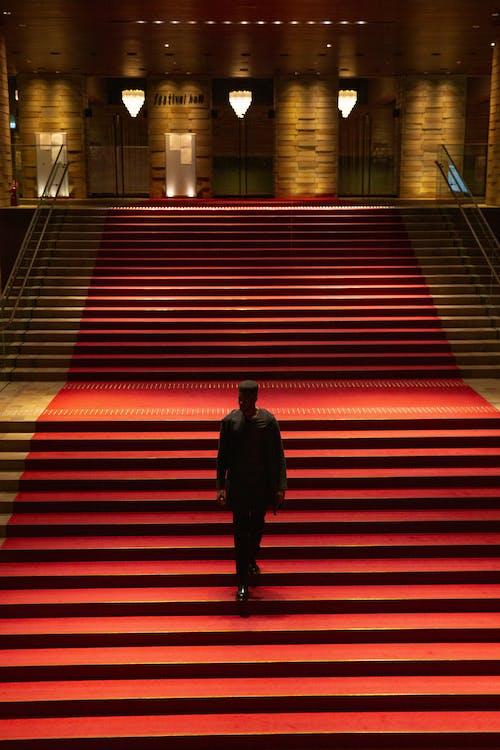 紅地毯上的樓梯上變得面目全非的人