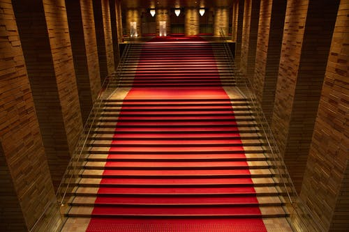 Red and Brown Wooden Staircase