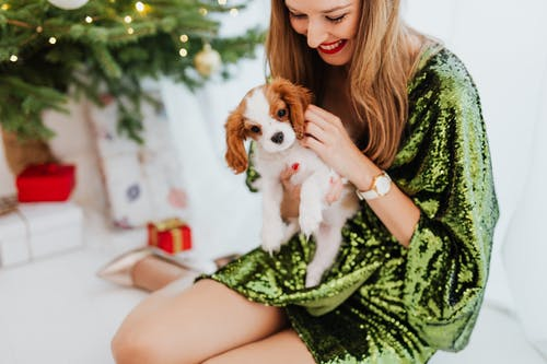 Shallow Focus Photo of a Happy Woman Holding Her Puppy