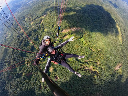 Free stock photo of paraglide, paraglider, paragliders