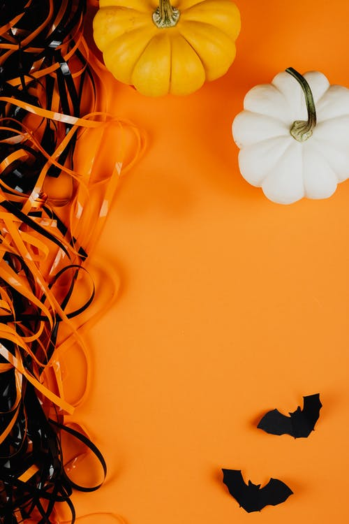 Pumpkins and Bats on an Orange Background