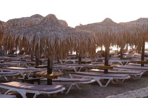 Brown Wooden Nipa Hut on Beach