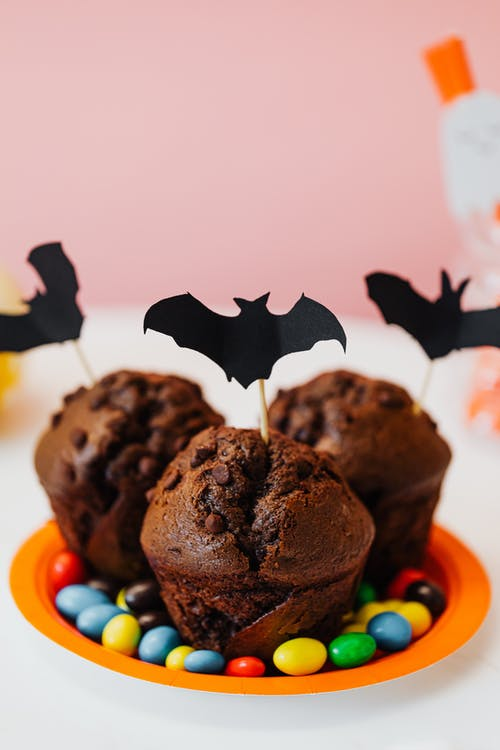 Chocolate Cupcakes With Halloween Bat Decorations