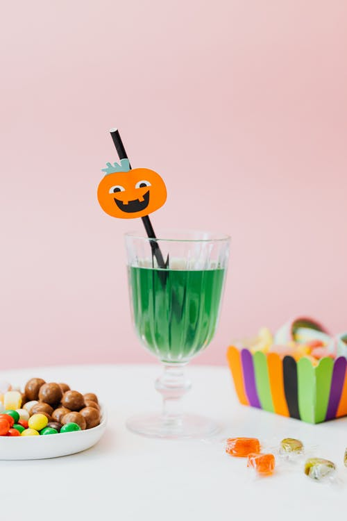 Halloween Candy and Decorated Straw