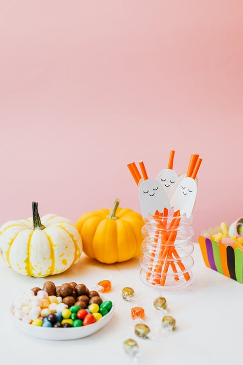 Halloween Candy and Decorated Straws