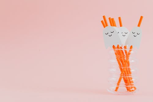 Cute Ghosts on Drinking Straws