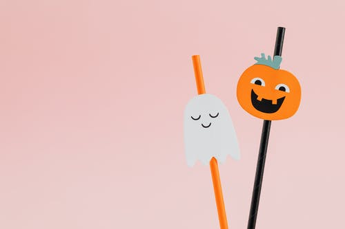 Cute Ghost and Pumpkin on Drinking Straws