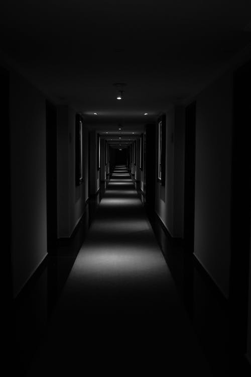 Grayscale Photo of Hallway With Lights