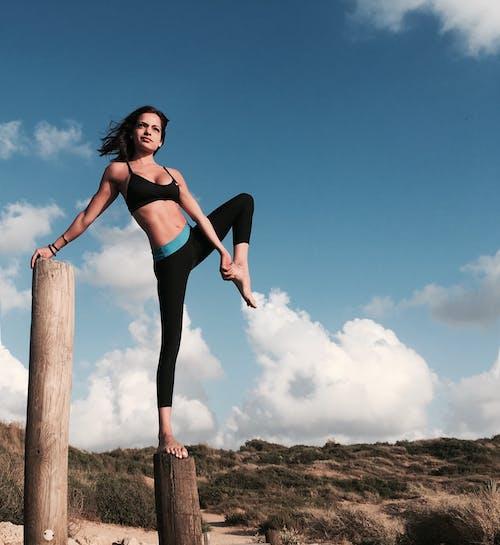 Woman in Black Bikini Standing on Brown Wooden Post
