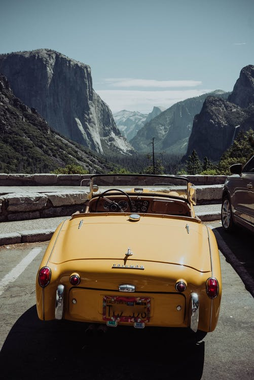 Vintage car on parking in mountains