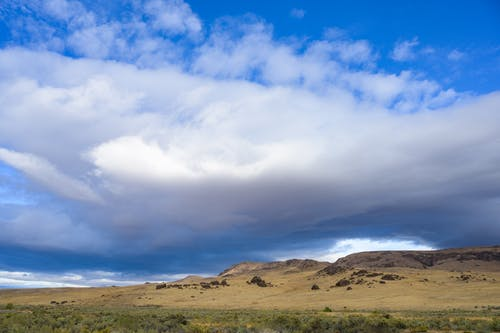 Cloudy sky over hills and steppe plants