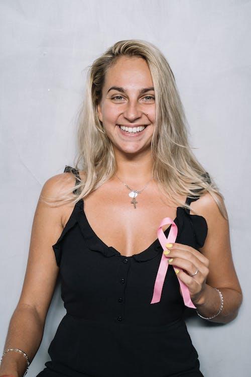 Woman in Black Spaghetti Strap Top Smiling