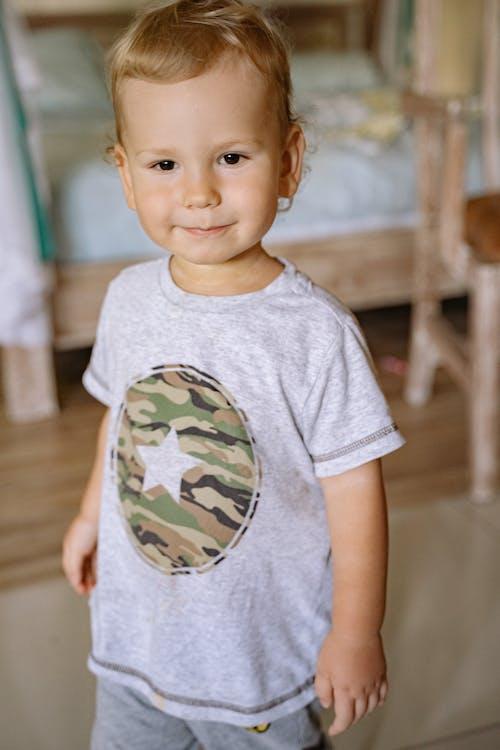 Boy in Gray Crew Neck T-shirt Standing