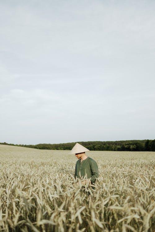 Man in Green Long Sleeve Shirt Standing on Green Grass Field