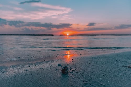 Shallow water of sea rolling on sandy shore at sunset