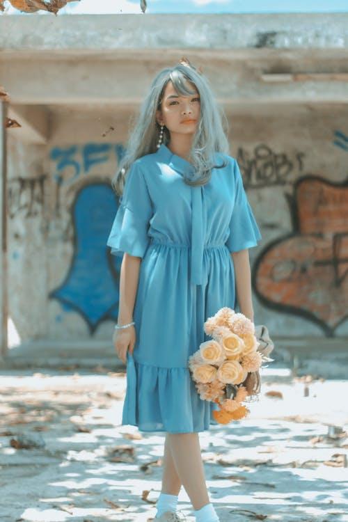 Gratis lagerfoto af asiatisk kvinde, blå, blik