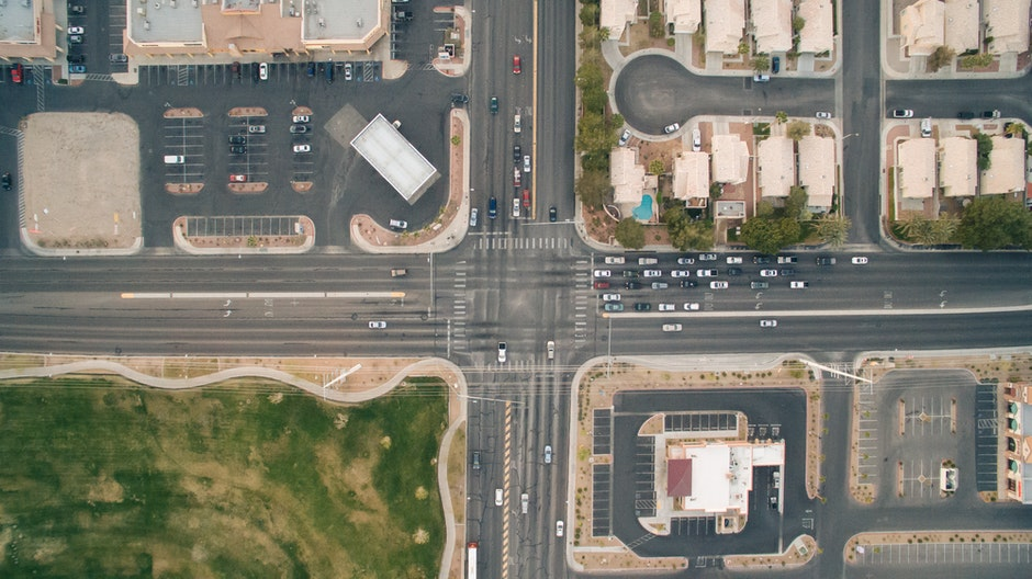 bird's eye view, cars, crossing