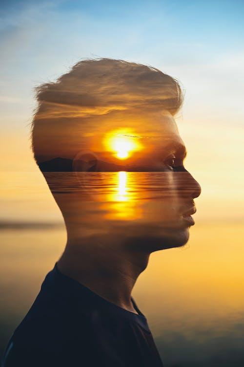 Free stock photo of creative portrait, double exposure, golden sunset
