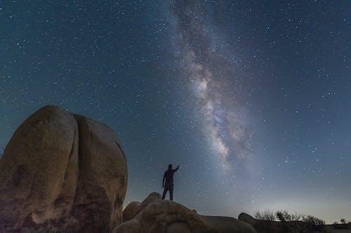 Uomo In Piedi Sulla Formazione Rocciosa Sotto Il Cielo Blu