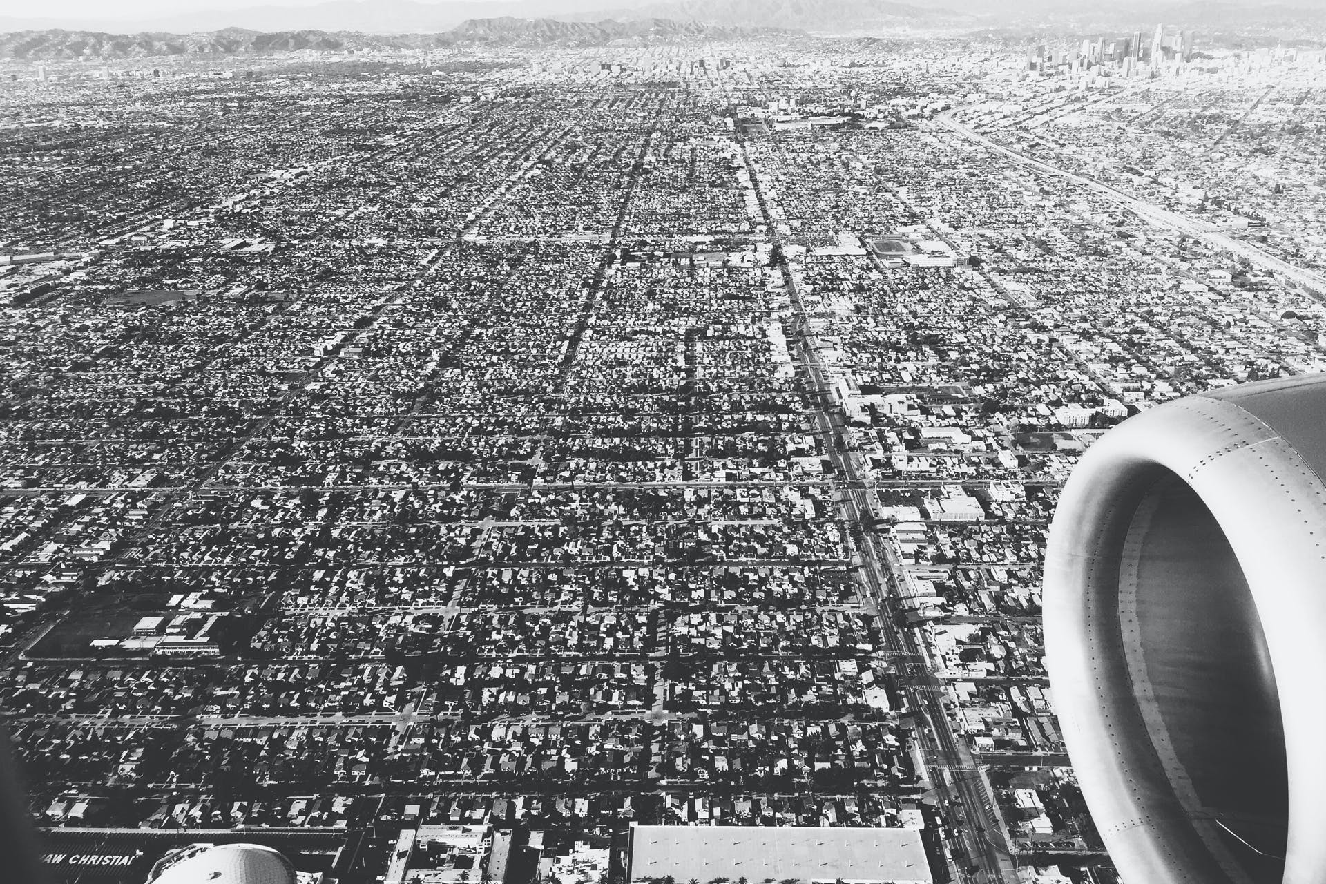 Free stock photo of black-and-white, city, flight