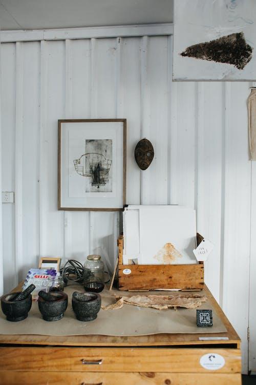 Cupboard with various equipment in studio