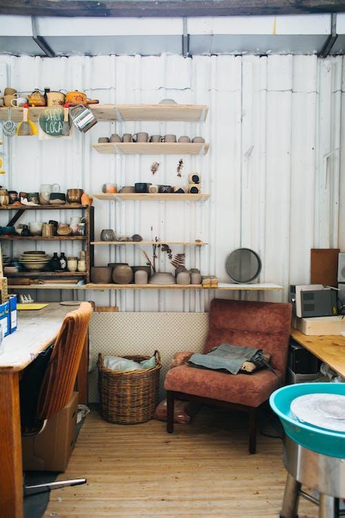 Interior of workshop with crockery