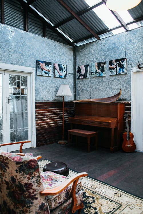 Vintage studio with musical instruments