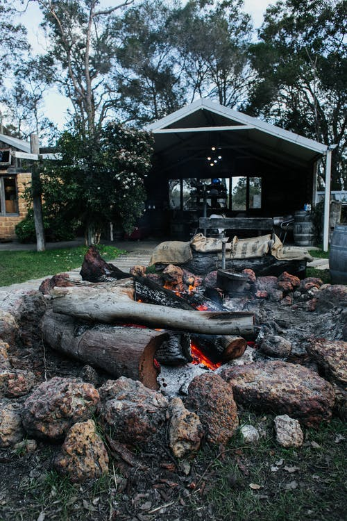 Stone fire pit with burning firewood and charcoal placed on grassy courtyard of residential house with tall trees in countryside