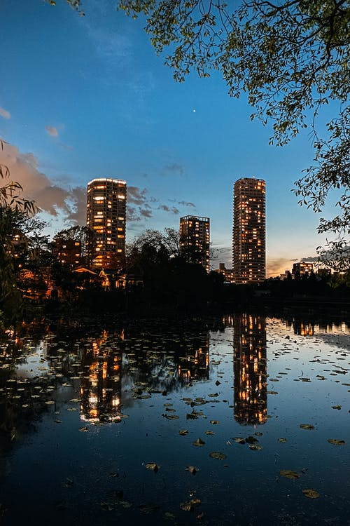Skyscrapers Reflecting on a Lake