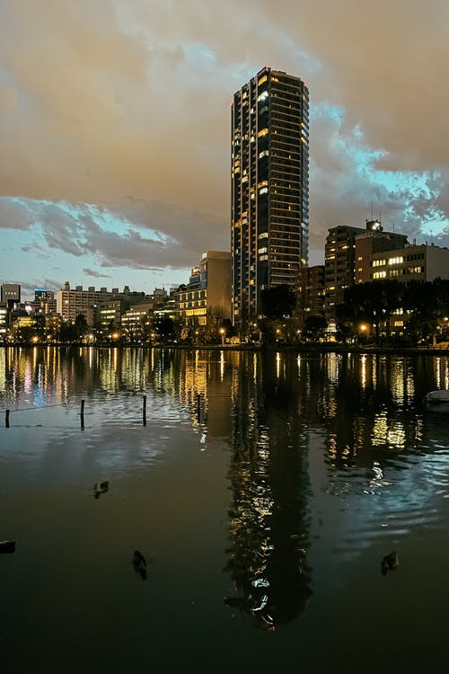 Buildings Reflecting on a River