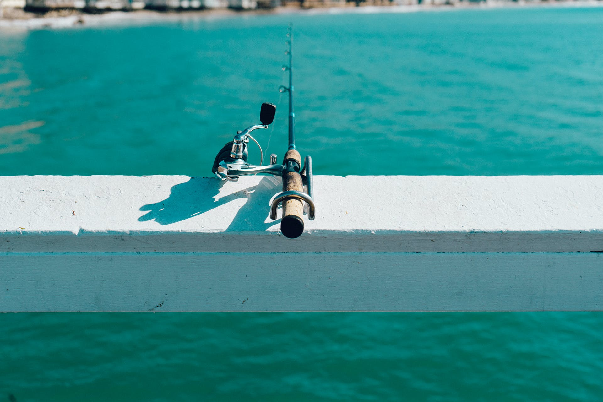 Fishing Rod on White Wooden Beam