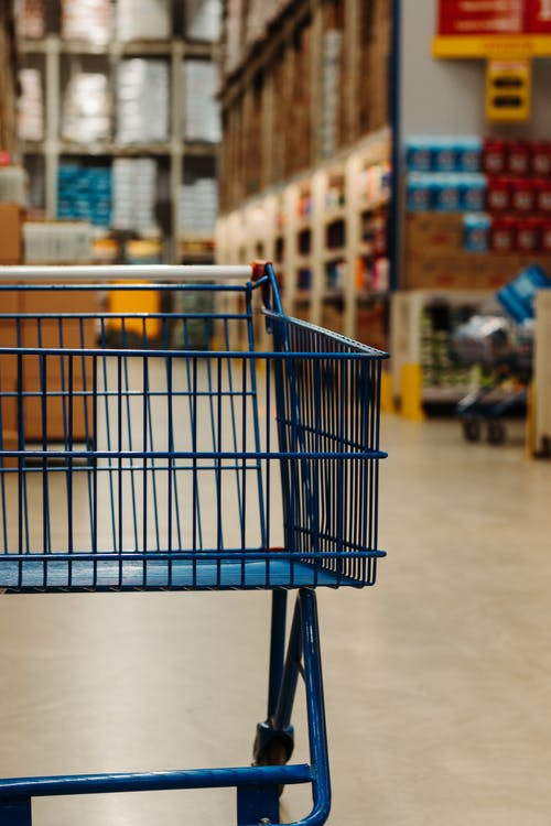 Empty Blue Shopping Cart