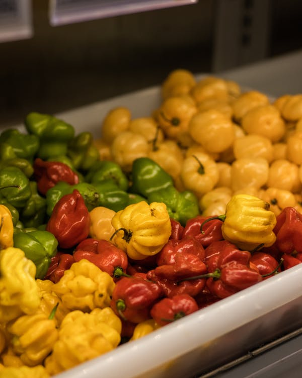 Variety Of Bell Peppers On Display