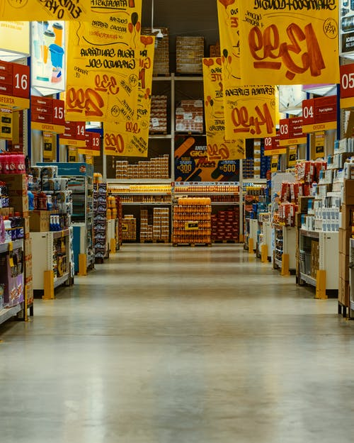 Cut Price Signs On Products Inside A Depot