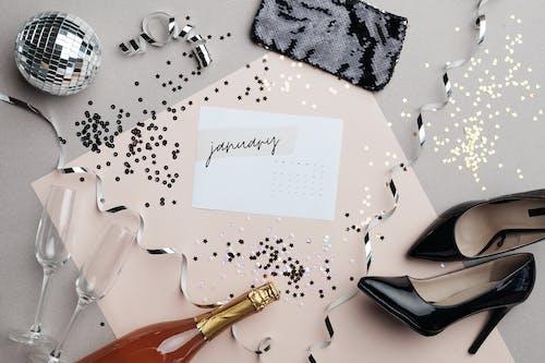 January Calendar On Glittery Surface