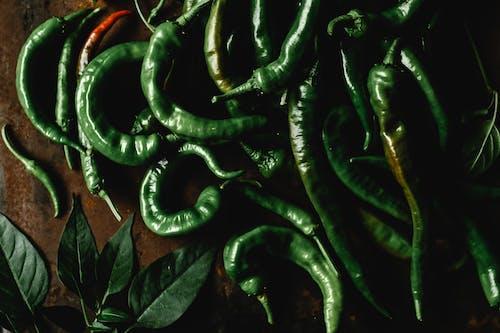 Macro Shot of Green Chili Peppers