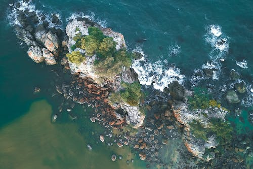 Rocky riff covered with moss in water of foamy ocean