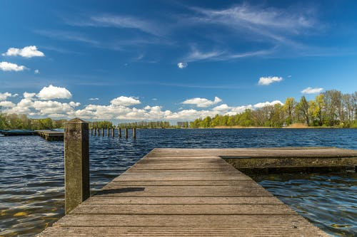 Brown Wooden Dock by the Lake