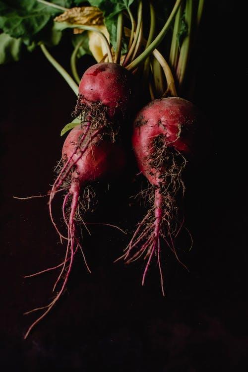 Rood Rond Fruit Met Zwarte Achtergrond