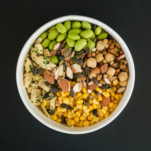 Power bowl with healthy food of corn and beans
