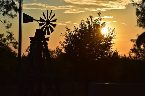 Free stock photo of sunrise, west texas, windmill