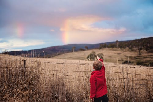 Boy Standing Near Fence Pointing on the Sky