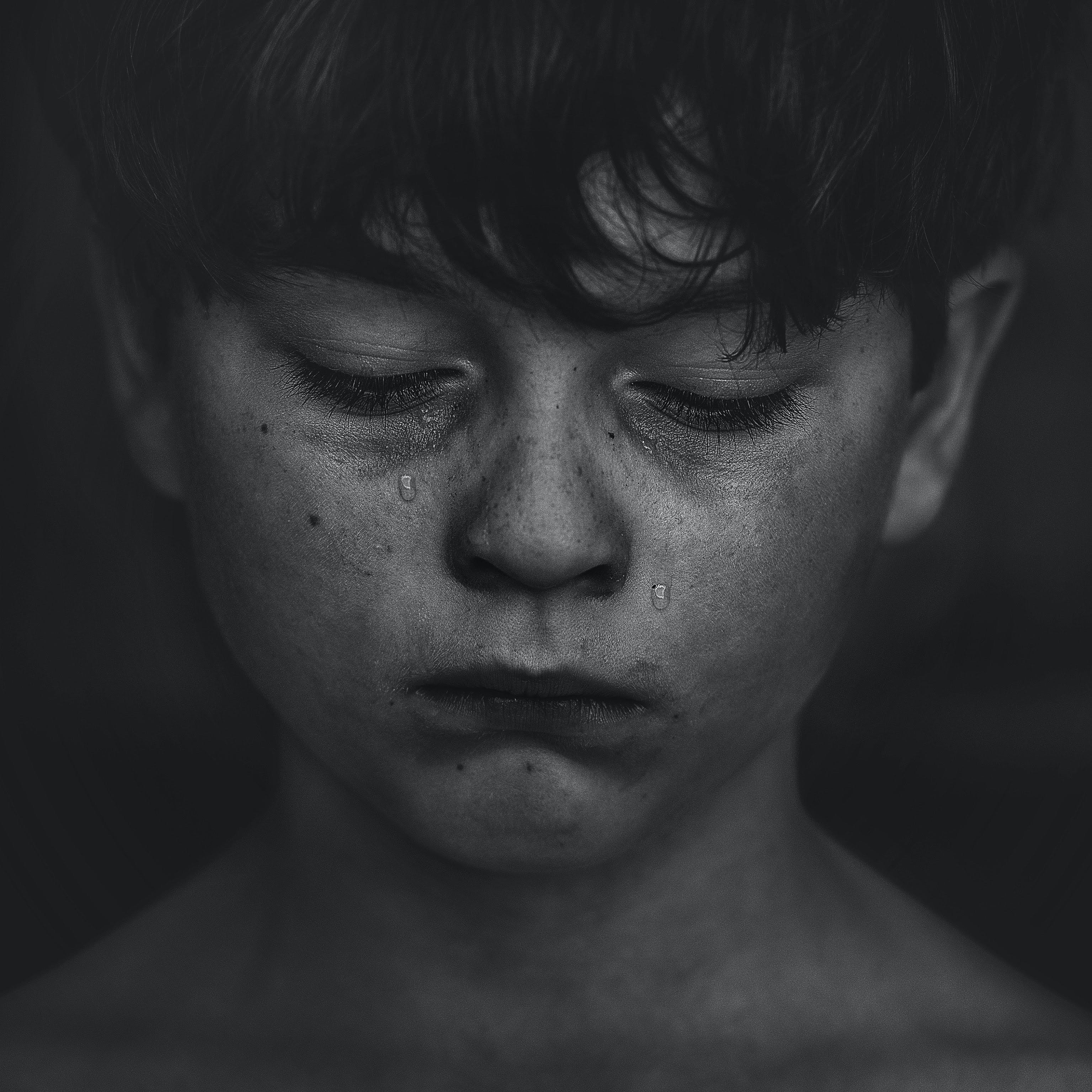Black-haired Boy Crying