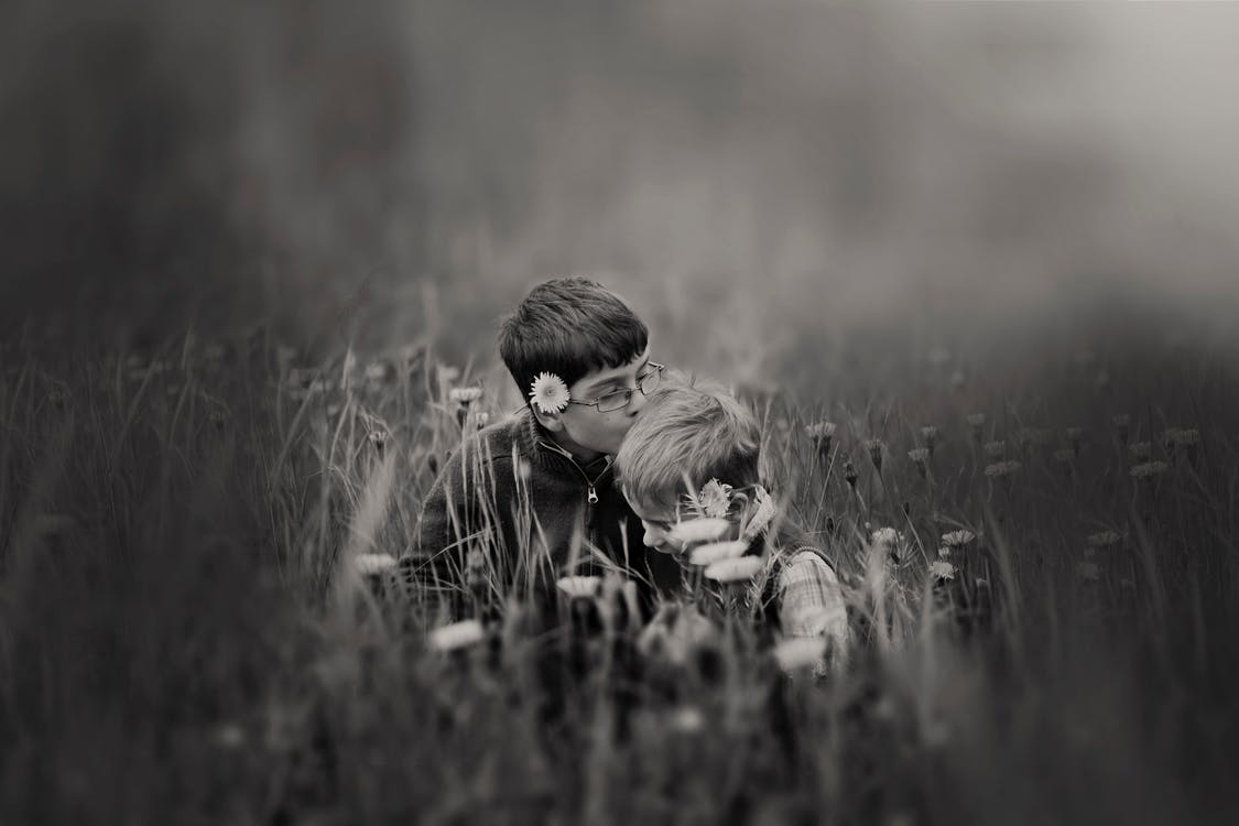 Boy Kissing Boy Head Surrounded by Flowers