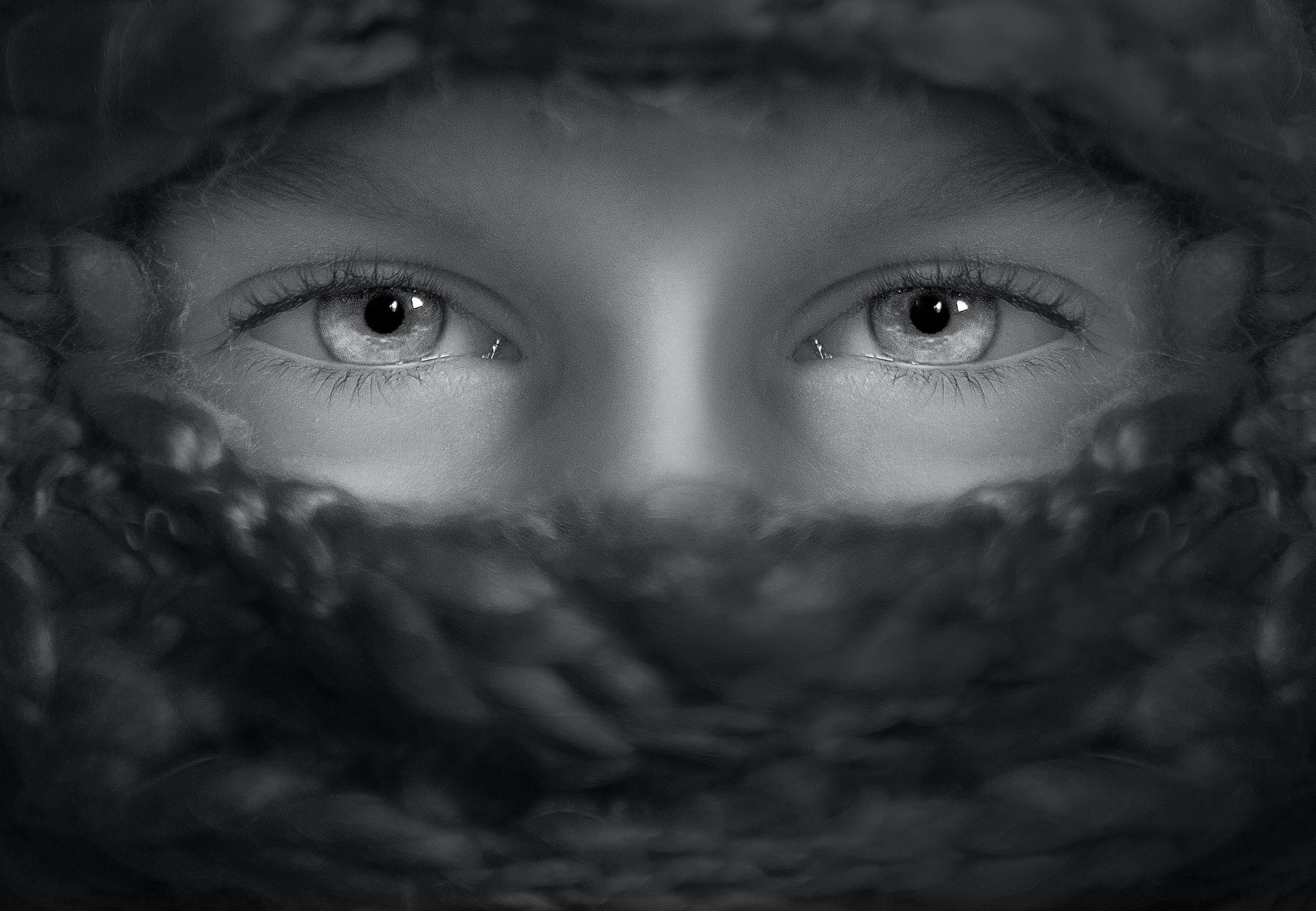 Person's Eye Grayscale Portrait Photography