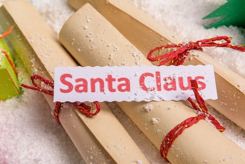 Paper rolls of children letters to Santa Claus