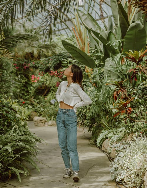 Attentive young Asian woman strolling along path in tropical greenhouse